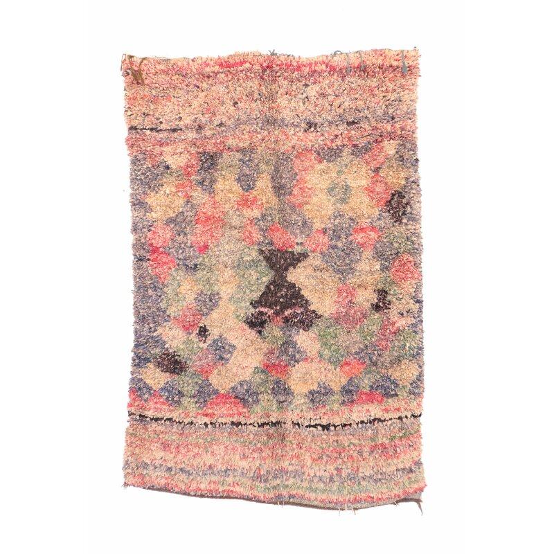 baa70a771 Indigo&Lavender Boucherouite Vintage Moroccan Hand Knotted Wool Pink/Black  Area Rug | Wayfair