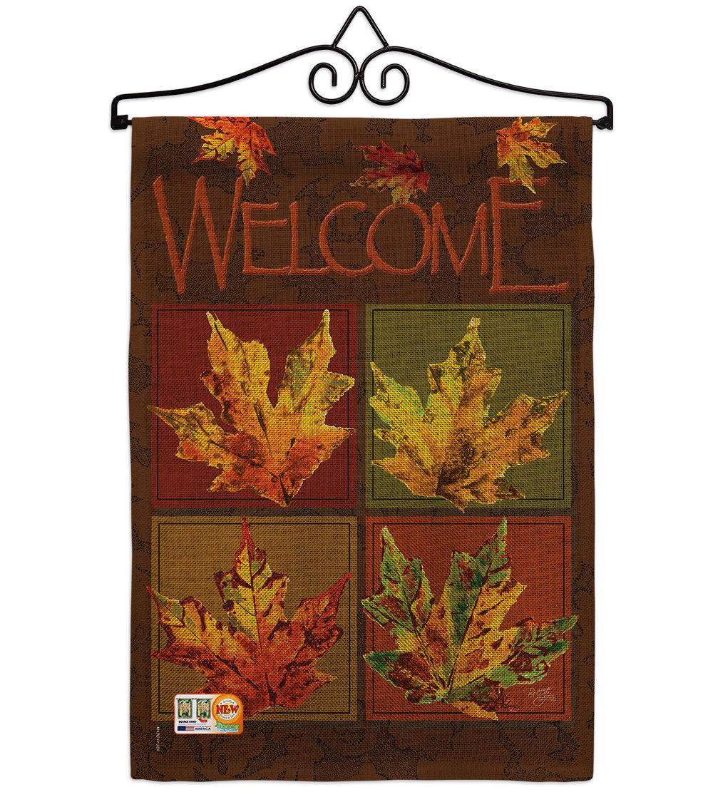Breeze Decor Fall Leaves Collage Burlap Harvest And Autumn 2 Sided Burlap 19 X 13 In Garden Flag Wayfair