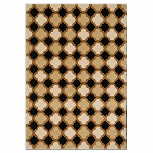 Inexpensive Schiess Black/Camel Area Rug By Ebern Designs