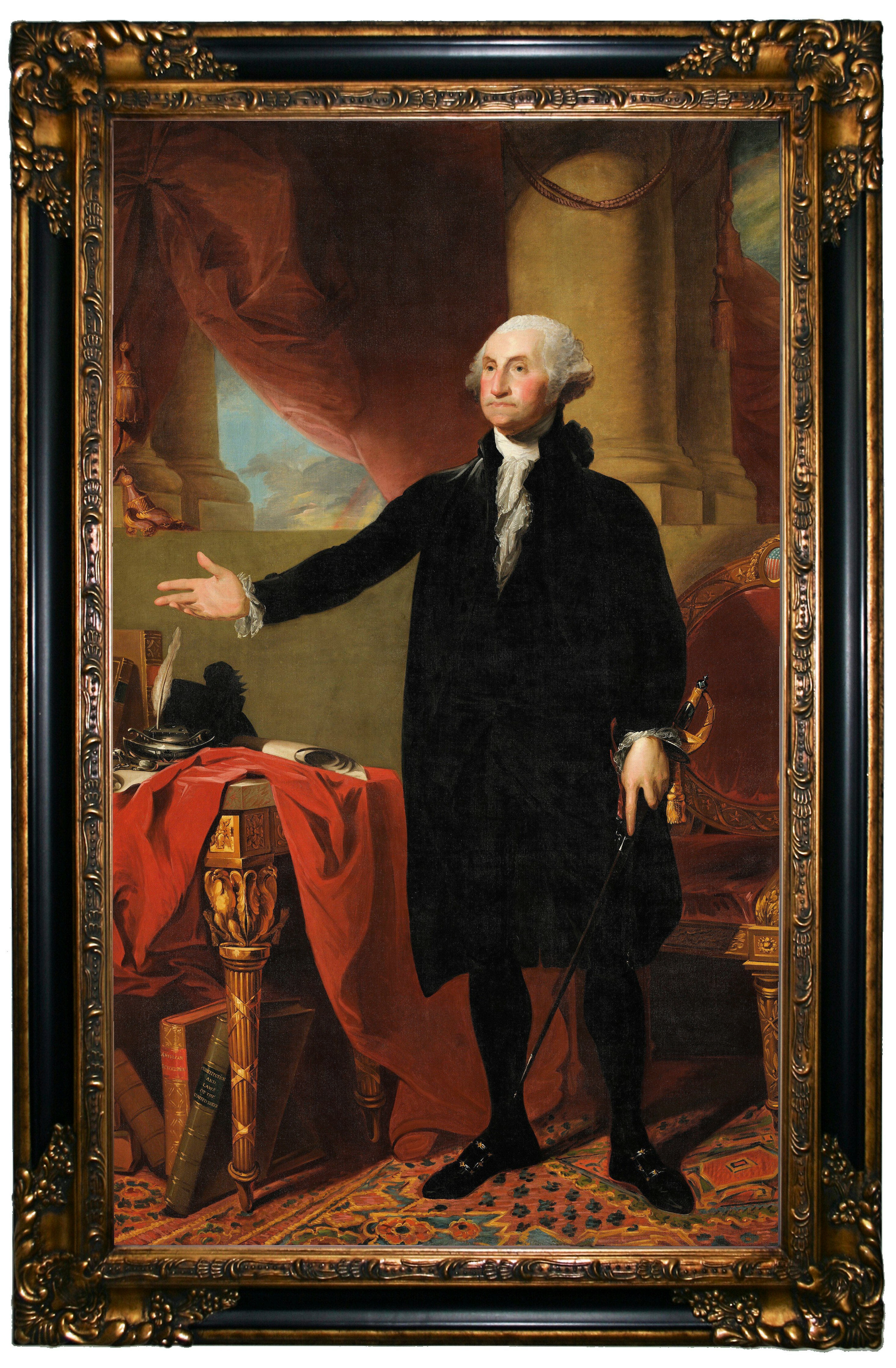 Darby Home Co George Washington Standing 1797 Framed Graphic Art Print On Canvas Wayfair