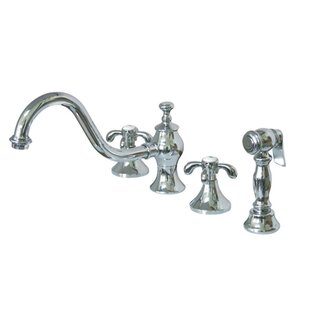 Kingston Brass French Country Double Handle Widespread Kitchen Faucet with Spray