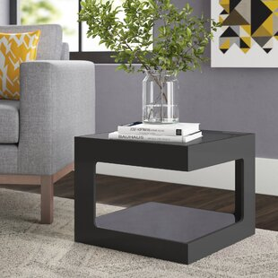 Atropos Modern Glass Top Cube End Table by Ivy Bronx