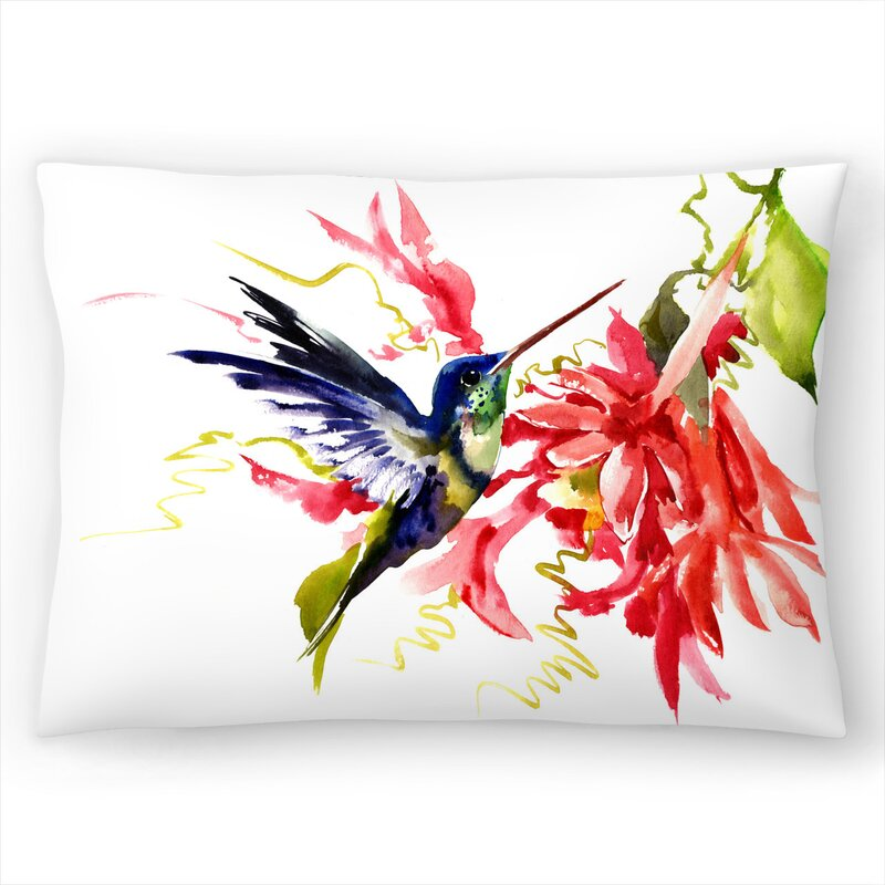 East Urban Home Suren Nersisyan Hummingbird And Flowers 1 Lumbar Pillow Wayfair