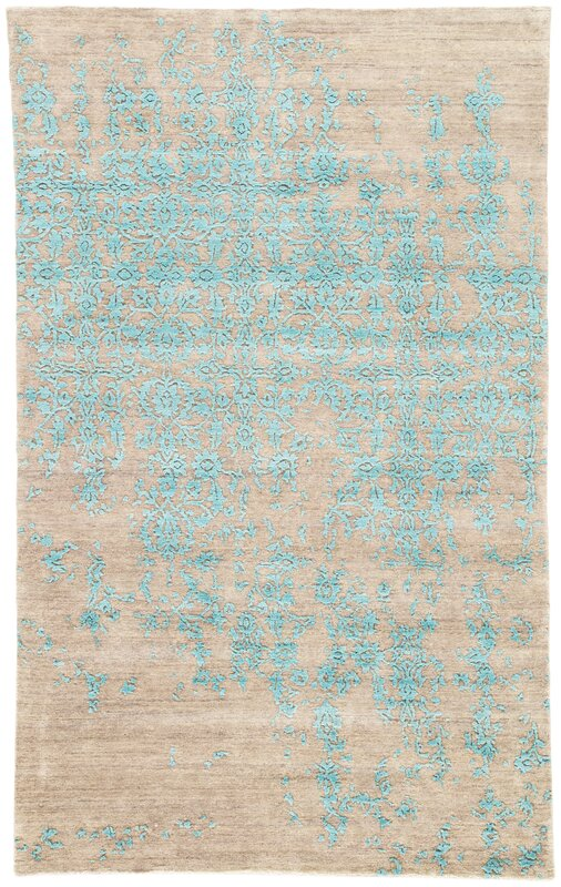 Jaipurliving Geode Scroll Hand Knotted Blue Taupe Area Rug