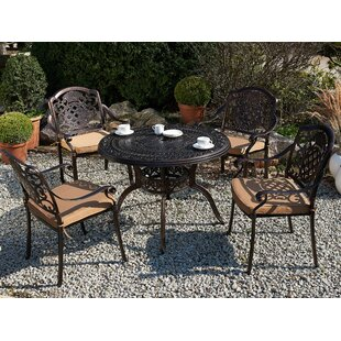 Fraizer 4 Seater Dining Set With Cushions And Parasol By Astoria Grand