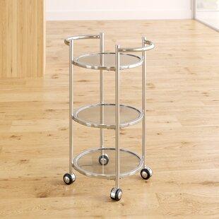 Dudek Modern Iron/Glass Bar Cart by Ebern Designs