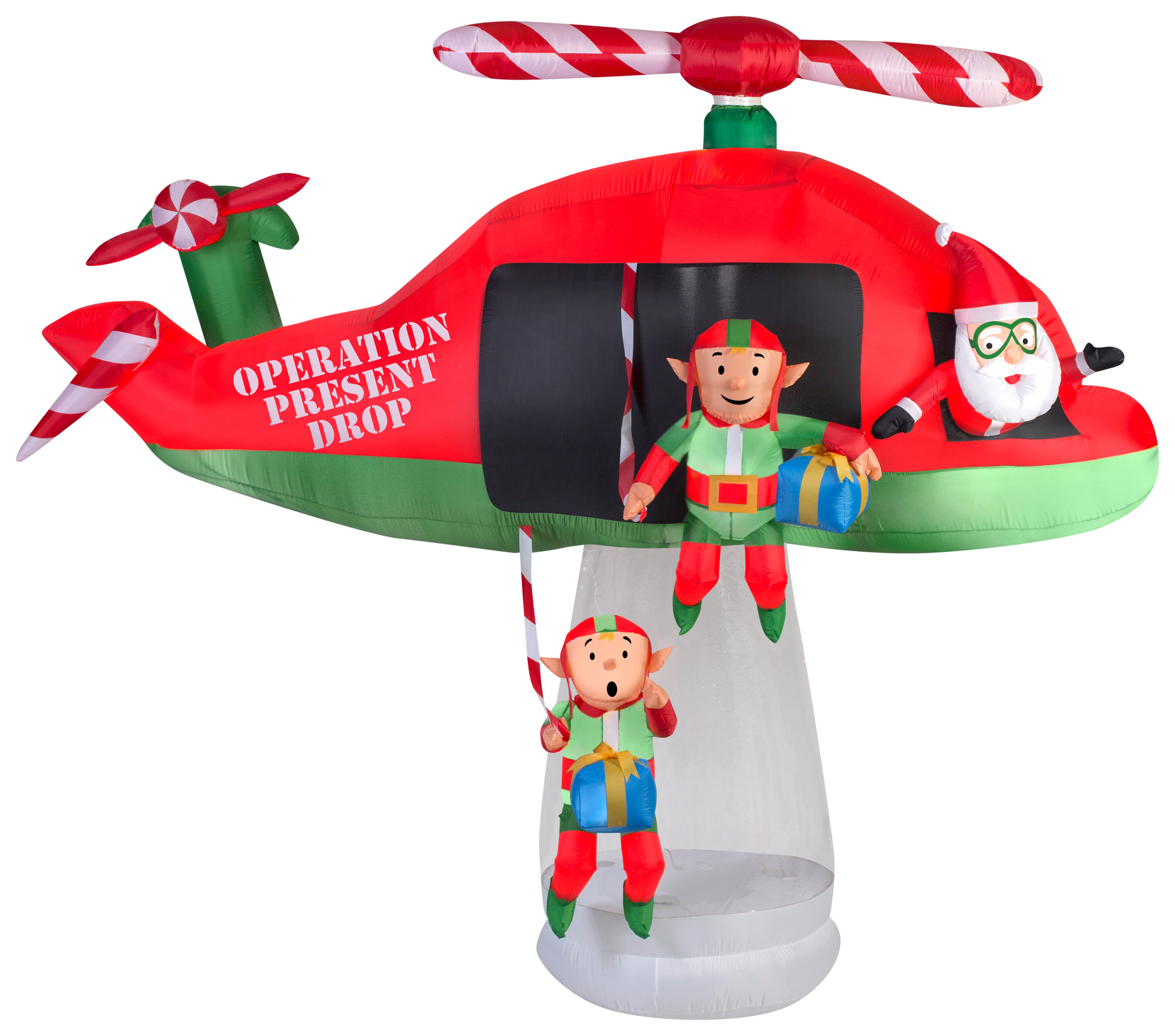 The Holiday Aisle Animated Santa And Elves In Helicopter Scene Inflatable Wayfair