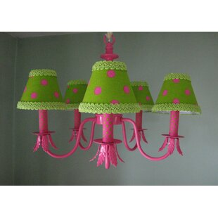 Shock Pink and Lime Dottie 5-Light Shaded Chandelier by Silly Bear Lighting