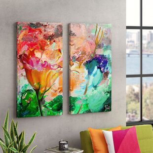 Painted Petals LXI 2 Piece Graphic Art On Canvas Set