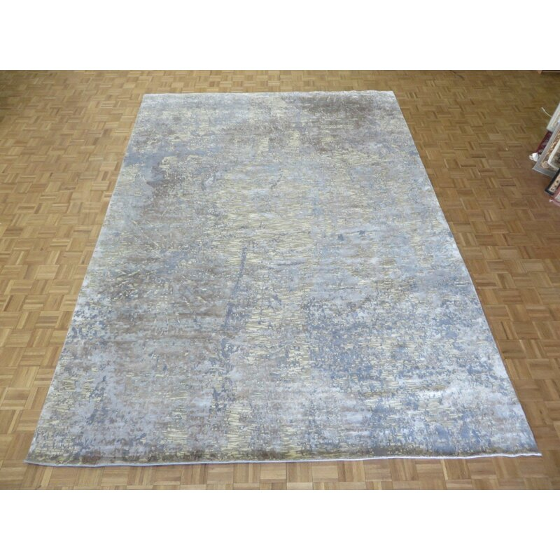 17 Stories Paris Abstract Hand Knotted Wool Silk White Gray Area Rug Wayfair