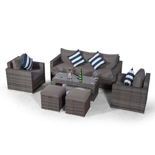 Villatoro Grey Rattan 3 Seat Sofa + 2 X Armchairs & 2 Stool Coffee Table, Outdoor Patio Garden Furniture By Sol 72 Outdoor