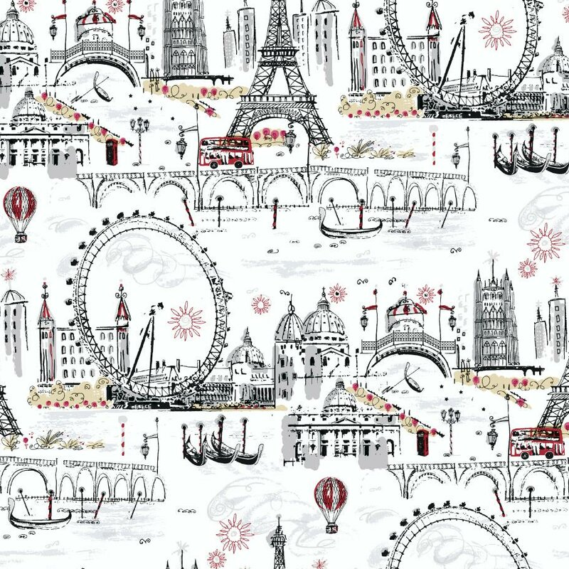 "Black and White 27' x 27"" Novelty Euro Scenic Wallpaper Roll"