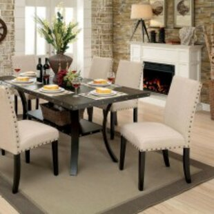 Duguay Industrial Rectangular 7 Piece Solid Wood Dining Set