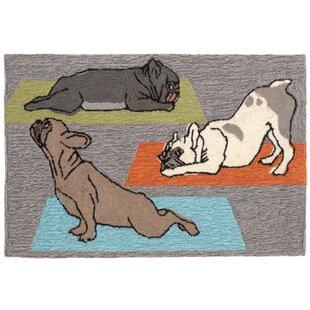 Seavey Yoga Dogs Gray Indoor/Outdoor Area Rug