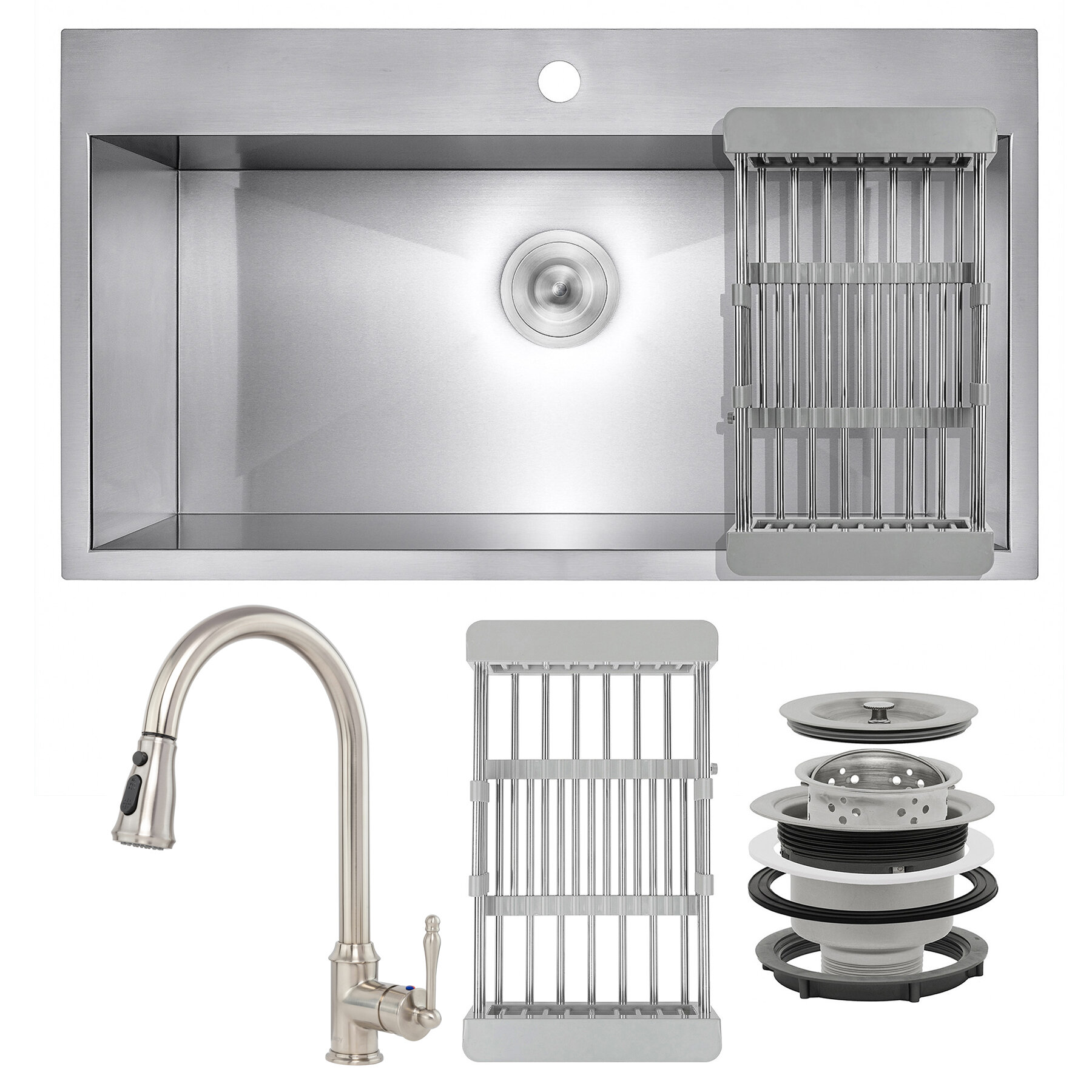 Akdy Pull Down 30 L X 18 W Drop In Kitchen Sink With Faucet Wayfair