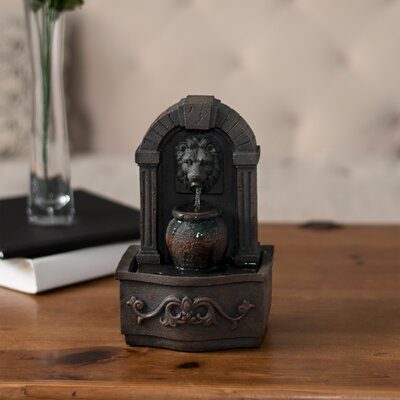 Polystone Lion Head Tabletop Fountain Pure Garden