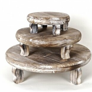 Gracie Oaks Maywood 3 Piece Wooden Plant Stand Set