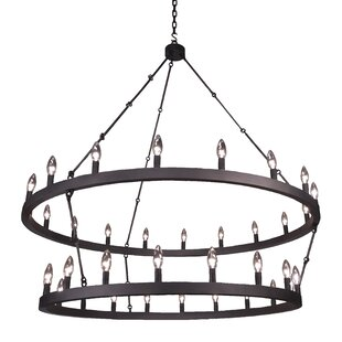 Steel Partners Pike Street 18-Light Wagon Wheel Chandelier