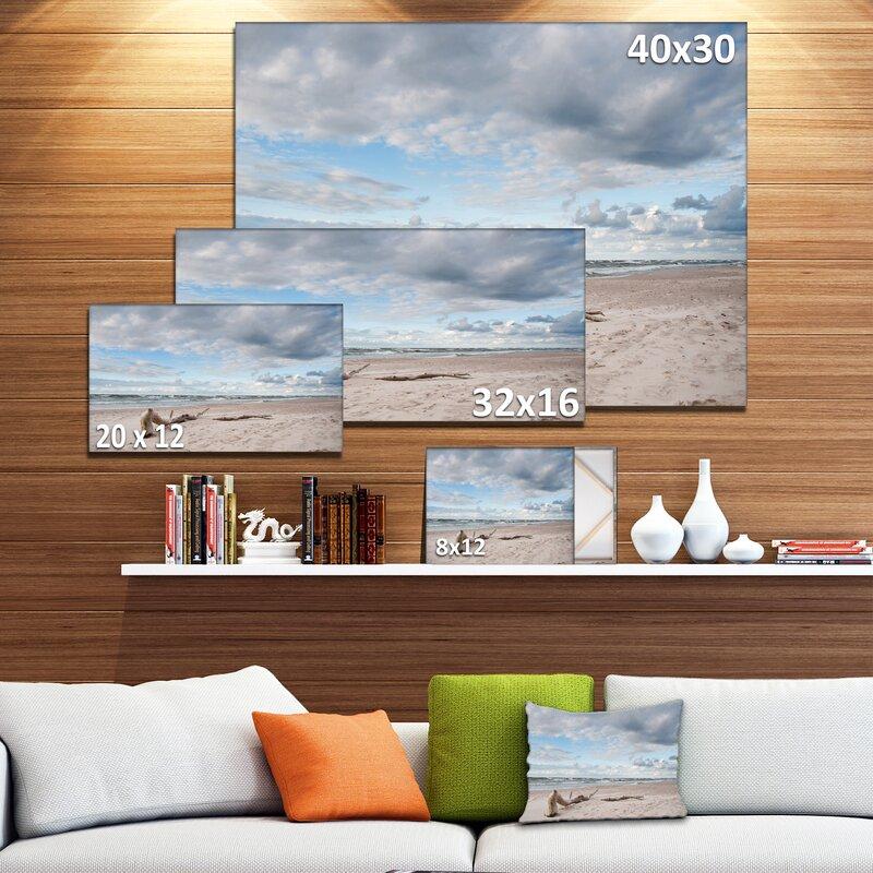designart large panels of wood on beach photographic print on