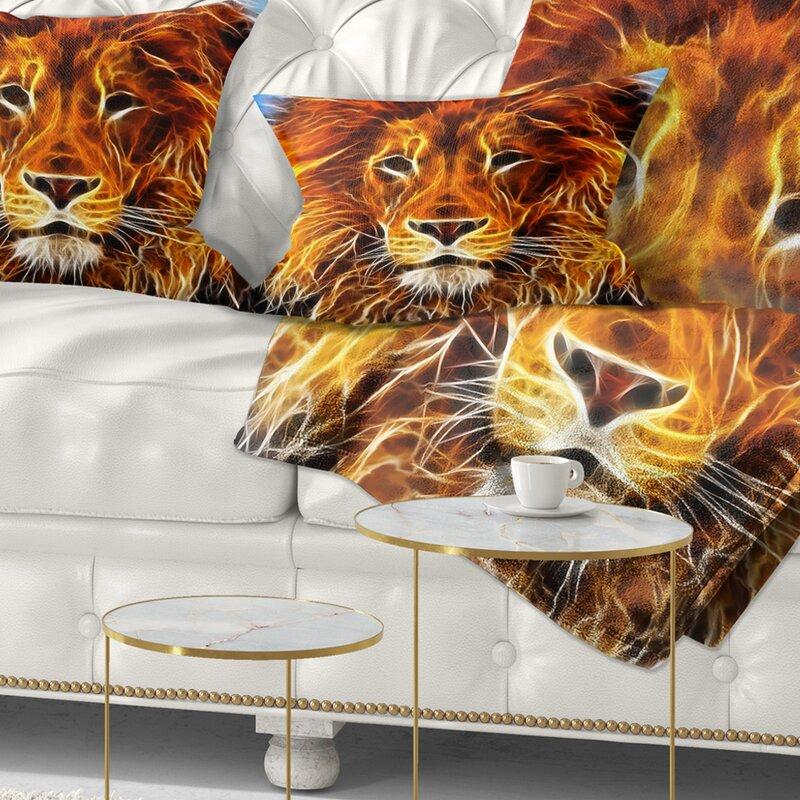 East Urban Home Animal Drawing Of The King Of Jungle Lumbar Pillow Wayfair