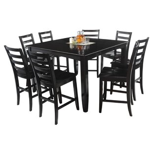 Grannis 9 Piece Counter Height Solid Wood Dining Set
