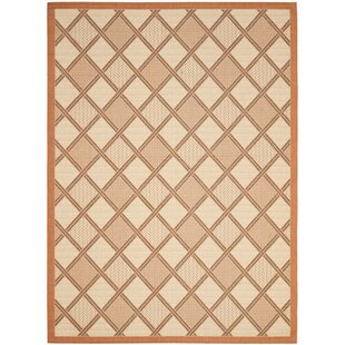 Short Teracotta/Beige Indoor/Outdoor Tile Rug