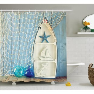 Carterton Nautical Decor Single Shower Curtain & Nautical Bathroom Decor | Wayfair