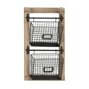 25 H x 14 W x 4 D Industrial 2-Tier Basket Wall Rack with Label Slot