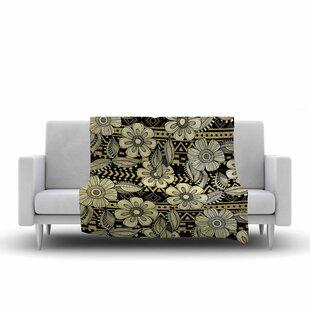 Best Reviews Louise Machado Ink Floral Fleece Blanket ByEast Urban Home