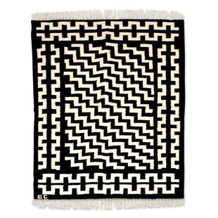 Buy clear Hand Woven Black/White Area Rug By Novica