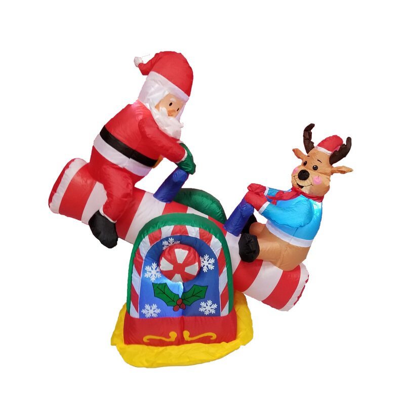 christmas inflatables animated santa reindeer teeter totter decoration - Christmas Inflatables Cheap