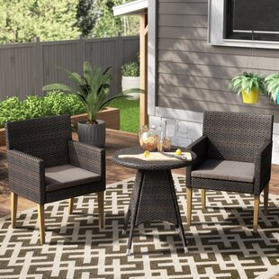 Opalstone 3 Piece Bistro Set with Cushions by Ivy Bronx