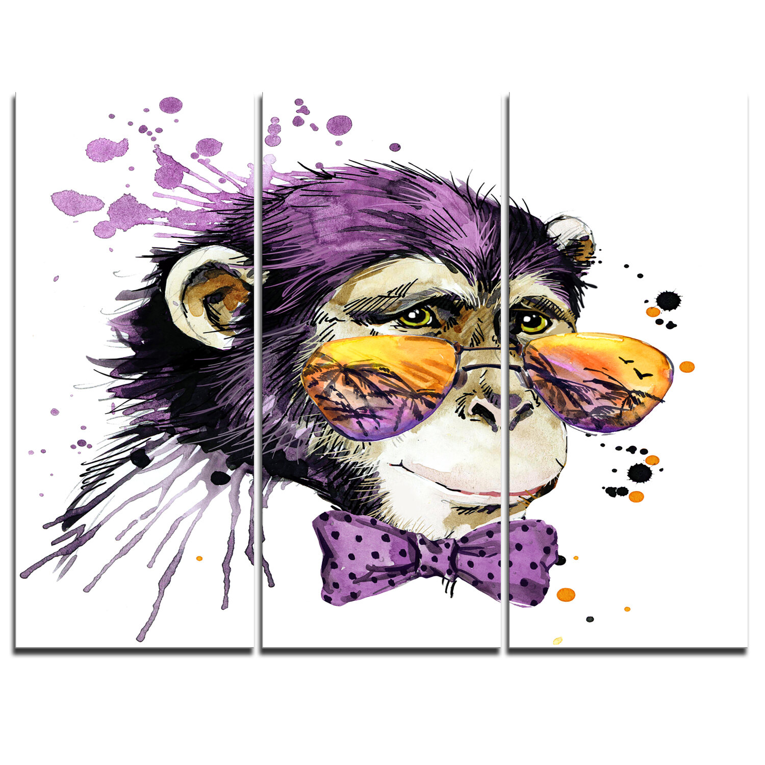Cool Monkey 3 Piece Graphic Art On Wrapped Canvas Set