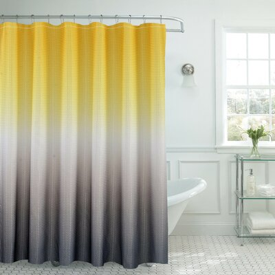 Bath Fusion Ombre Shower Curtain Color: Yellow/Gray