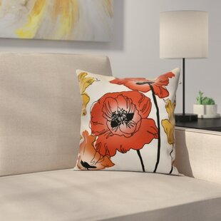 Poppies Floral Outdoor Throw Pillow