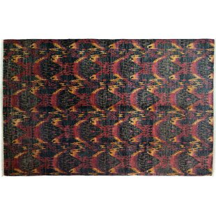 Compare & Buy One-of-a-Kind Ikat Hand-Knotted Black/Pink/Yellow Area Rug ByDarya Rugs