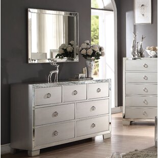 Rosdorf Park Isai 7 Drawer Double Dresser with Mirror