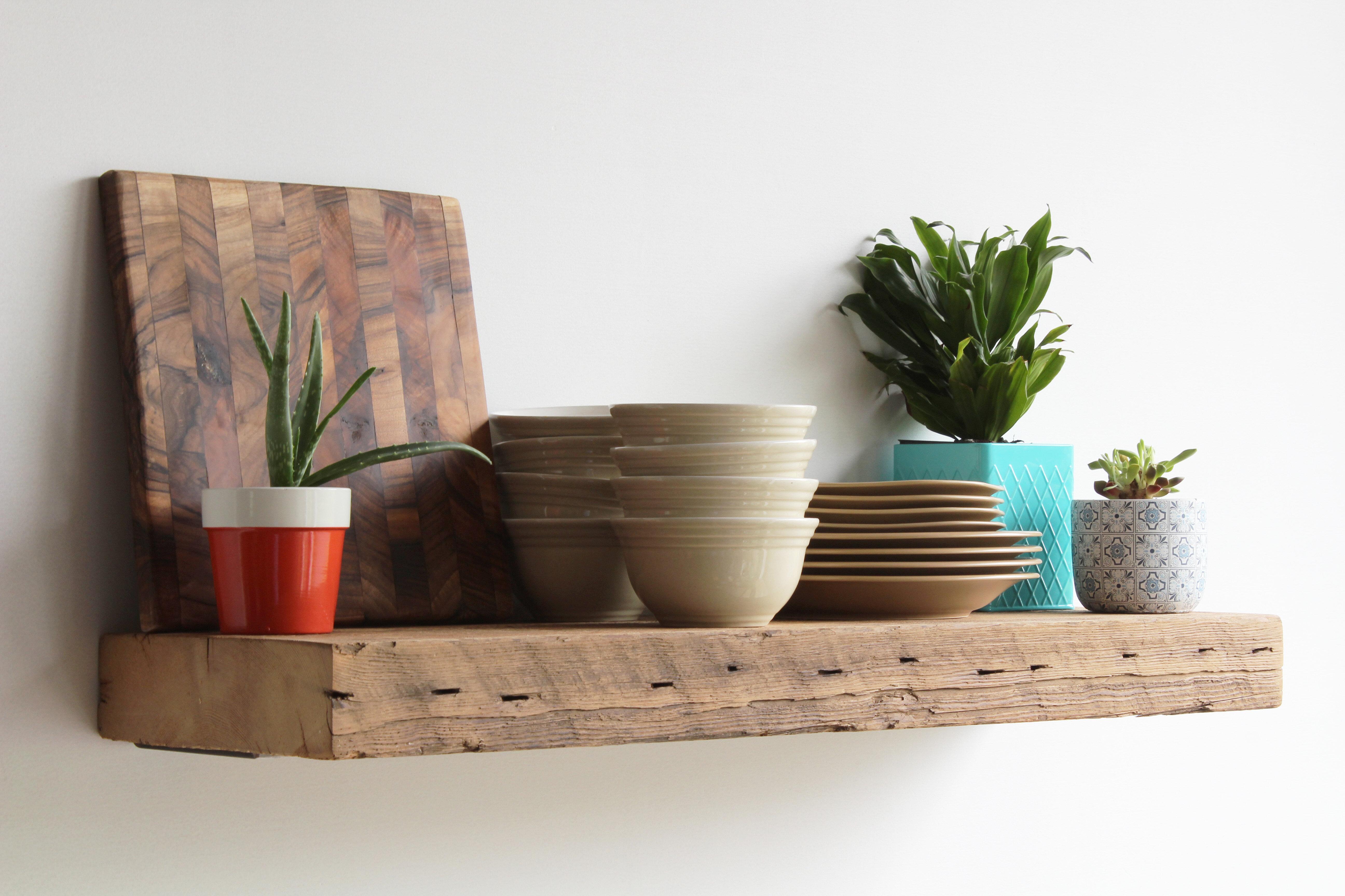loon peak bugbee 2 solid wood floating shelf with reclaimed wood w