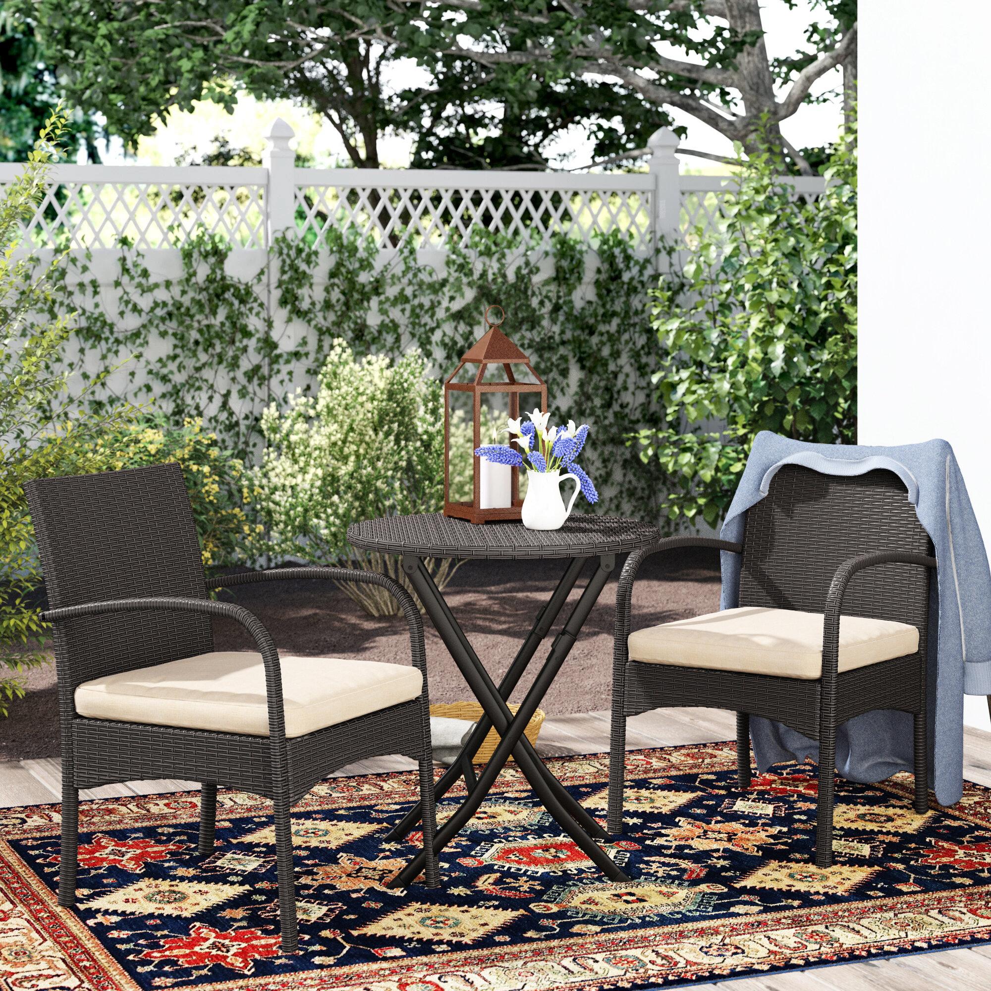 Three Posts Dereham Outdoor 3 Piece Bistro Set with Cushions