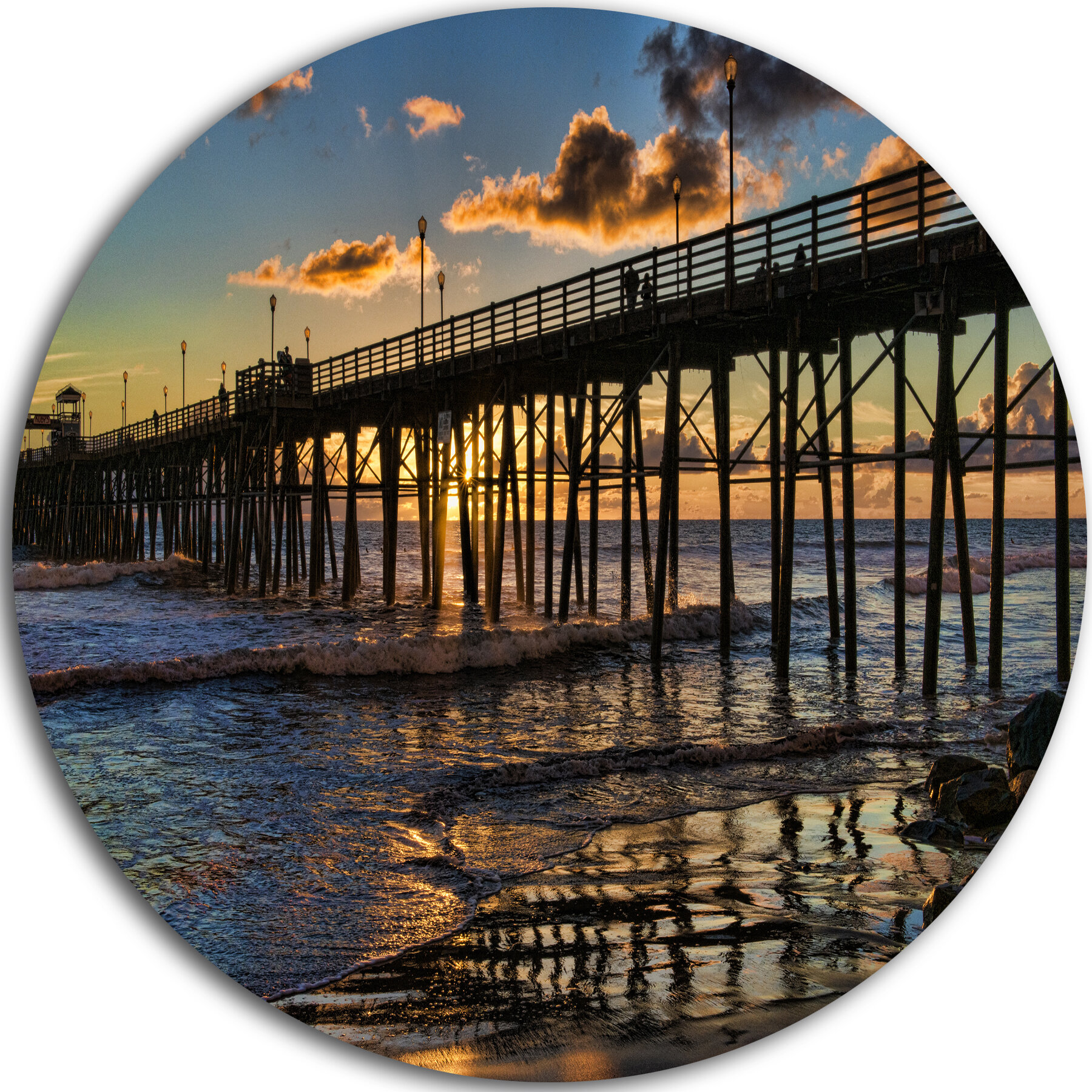 Colorful sunset at the Oceanside Pier Poster Art Print Home Decor