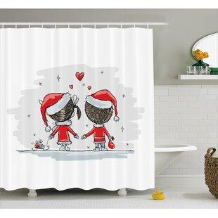 Christmas Kids Santa Costumes Shower Curtain ByThe Holiday Aisle