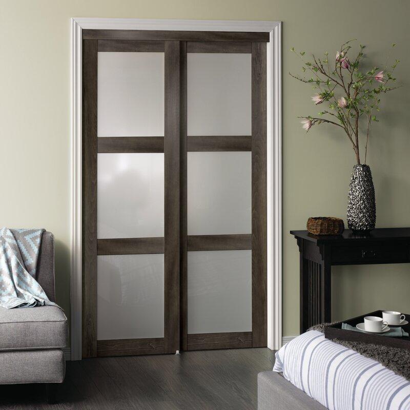 Erias Home Designs Baldarassario 3 Lite 2 Panel MDF Sliding ...