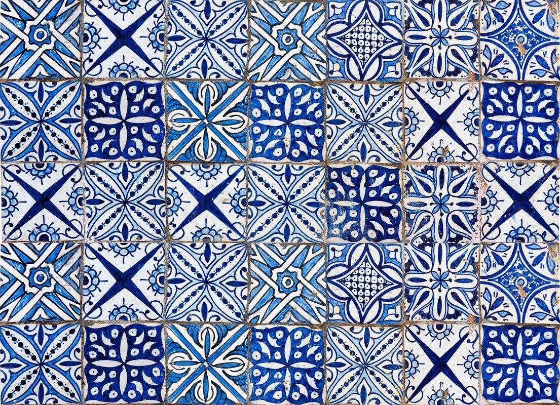 wallpops home decor line blue azulejos kitchen wall mural wayfair