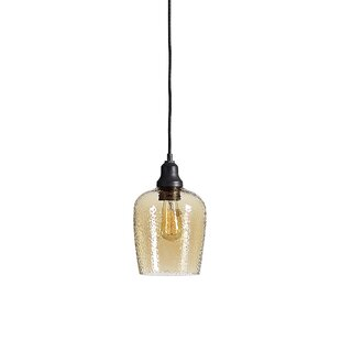 Breakwater Bay Eleanor Amber Glass 1 -Light LED Bell Pendant