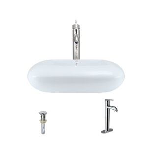 MR Direct Pillow Top Vitreous China Rectangular Vessel Bathroom Sink with Faucet