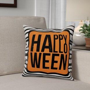 Happy Halloween Stripes Throw Pillow
