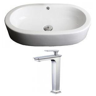 Royal Purple Bath Kitchen Transition Ceramic Oval Vessel Bathroom Sink with Faucet and Overflow