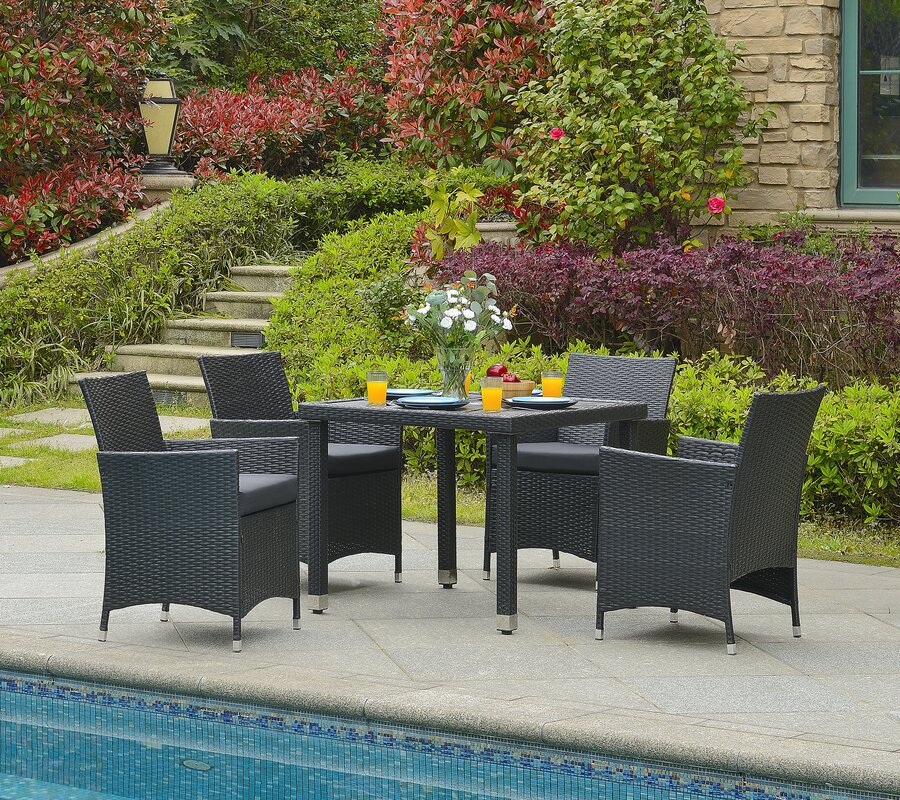 Mcnew 5 Piece Outdoor Dining Set with Cushion #patioset #woven #armchair