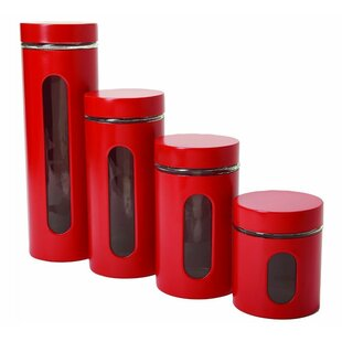 Palladian Glass and Stainless Steel 4 Piece Kitchen Canister Set with Lid