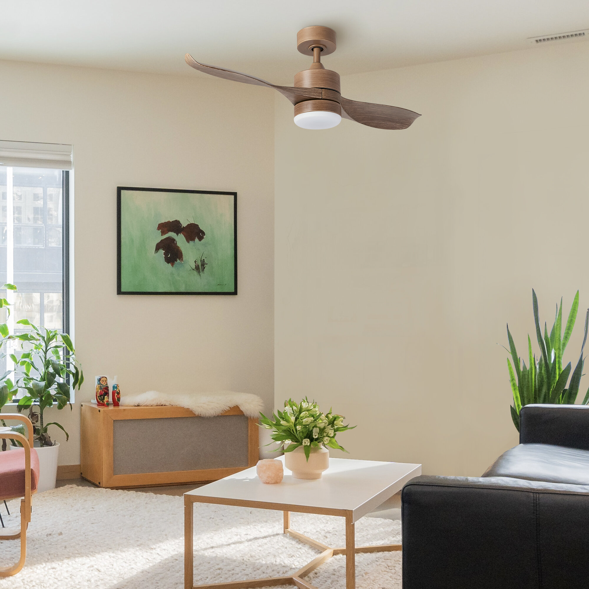 George Oliver 42 Jaclyn Led Standard Ceiling Fan With Remote Control And Light Kit Included Wayfair